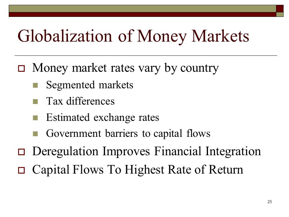 25 Globalization of Money Markets Money market rates vary by country Segmented markets Tax differences Estimated exchange rates Government barriers to