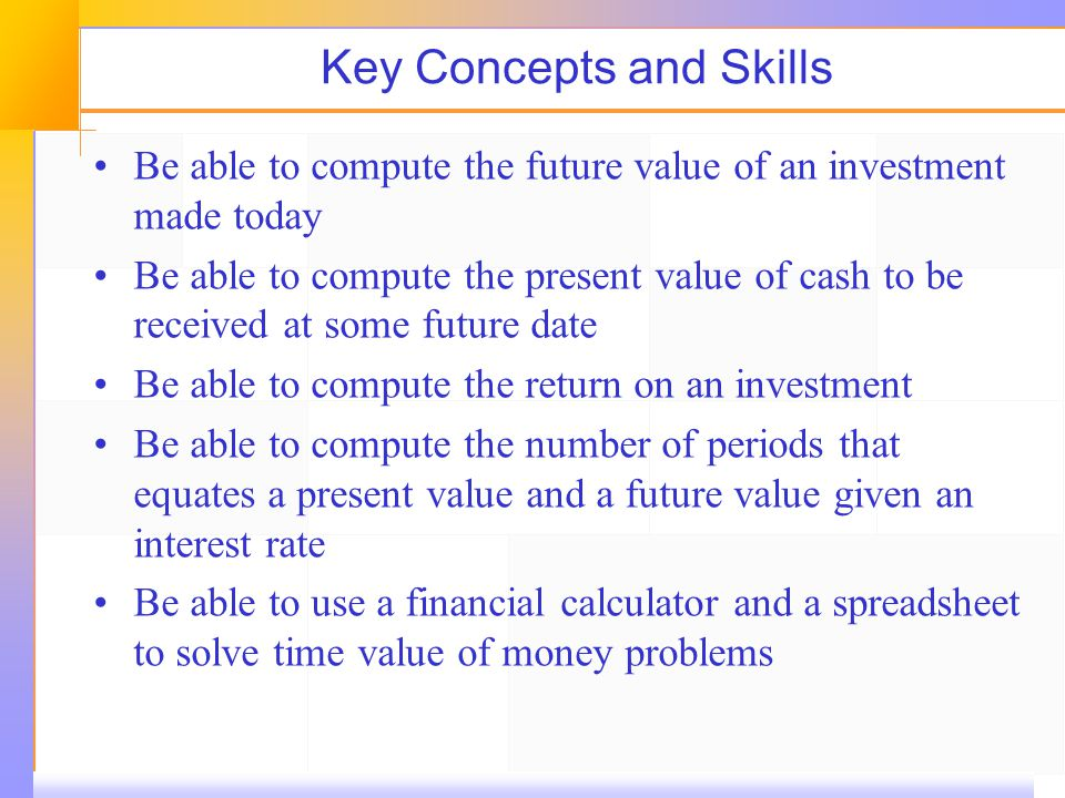 Key Concepts and Skills Be able to compute the future value of an investment made today Be able to compute the present value of cash to be received at some future date Be able to compute the return on an investment Be able to compute the number of periods that equates a present value and a future value given an interest rate Be able to use a financial calculator and a spreadsheet to solve time value of money problems
