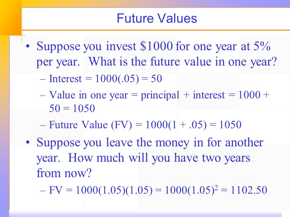 Future Values Suppose you invest $1000 for one year at 5% per year.