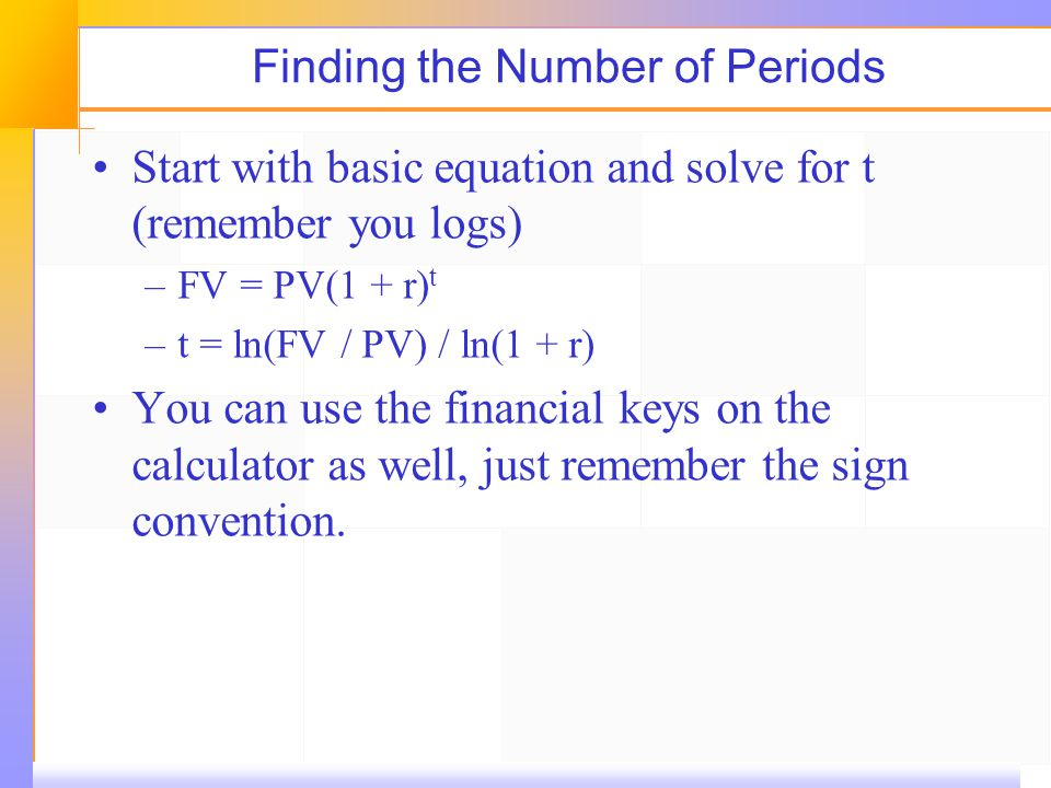 Finding the Number of Periods Start with basic equation and solve for t (remember you logs) –FV = PV(1 + r) t –t = ln(FV / PV) / ln(1 + r) You can use the financial keys on the calculator as well, just remember the sign convention.