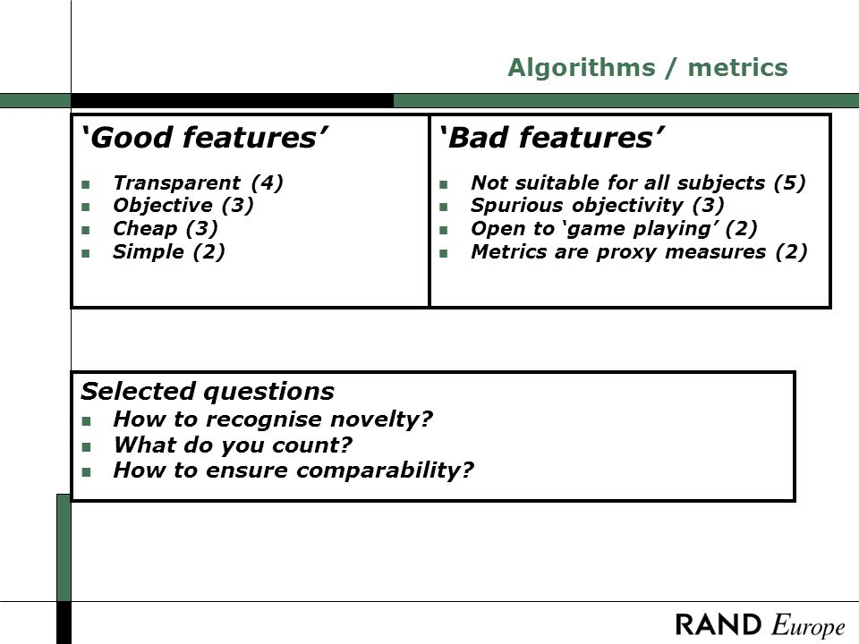 Algorithms / metrics Selected questions n How to recognise novelty.