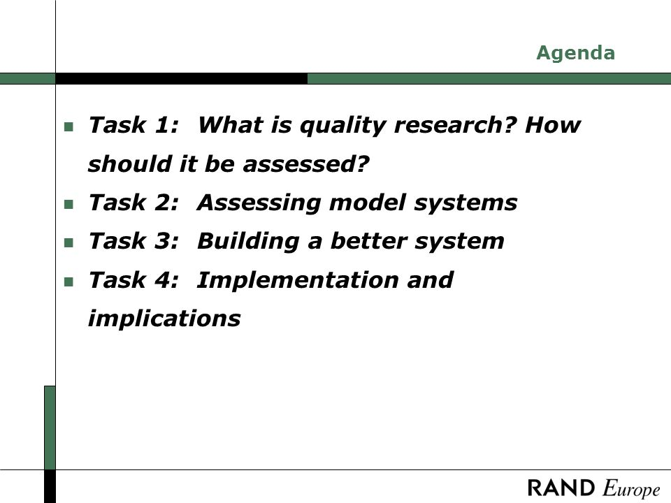 Task 1: What is high quality research.How should it be assessed.