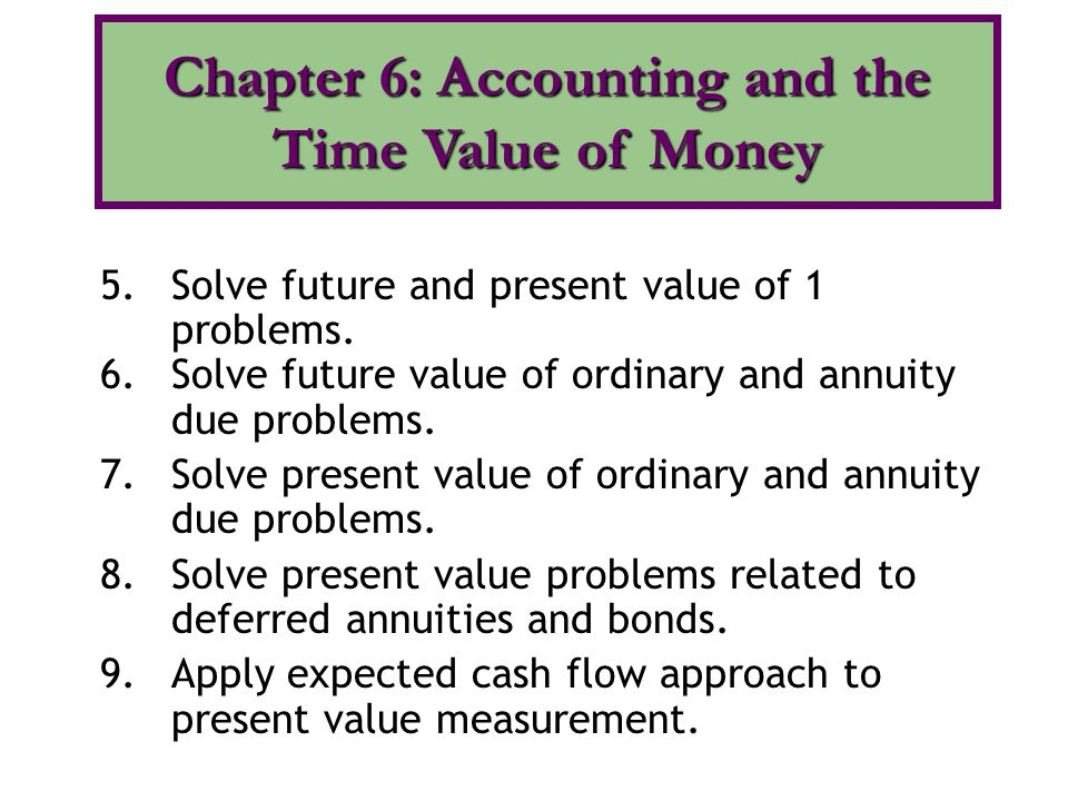 5.Solve future and present value of 1 problems. 6.Solve future value of ordinary and annuity due problems. 7.Solve present value of ordinary and annui