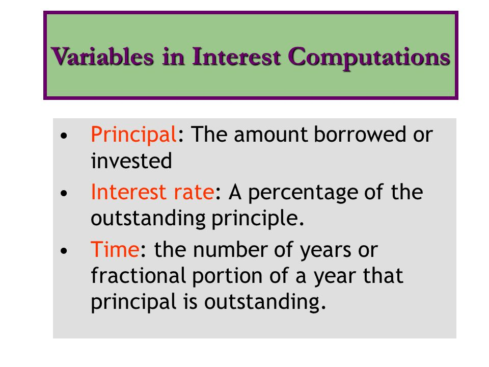 Principal: The amount borrowed or invested Interest rate: A percentage of the outstanding principle. Time: the number of years or fractional portion o