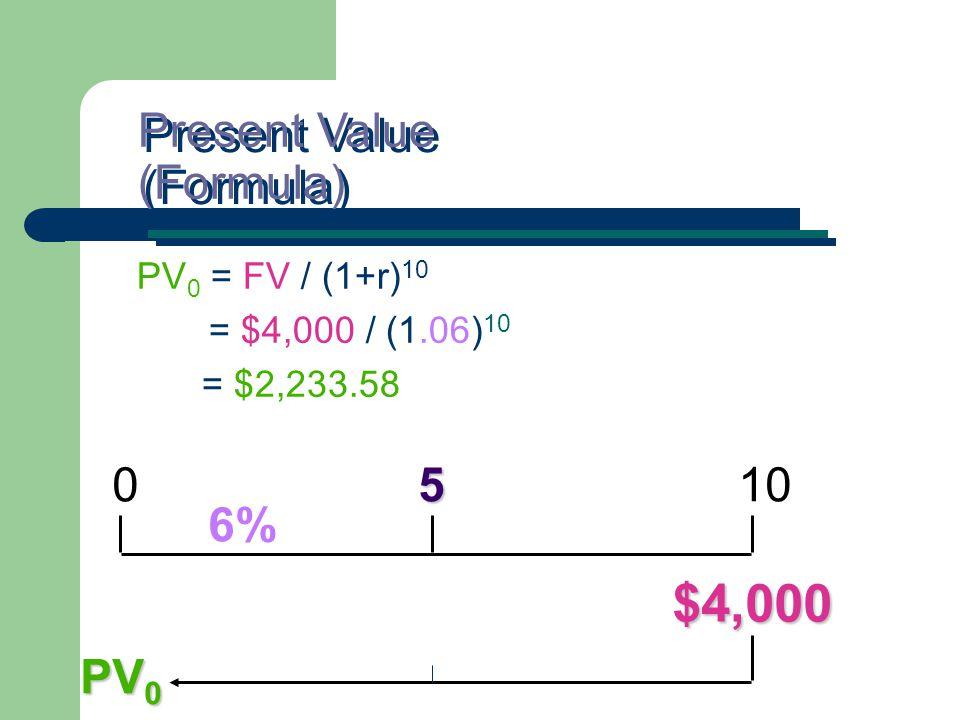 PV 0 = FV / (1+r) 10 = $4,000 / (1.06) 10 = $2,233.58 Present Value (Formula) 5 0 5 10 $4,000 6% PV 0
