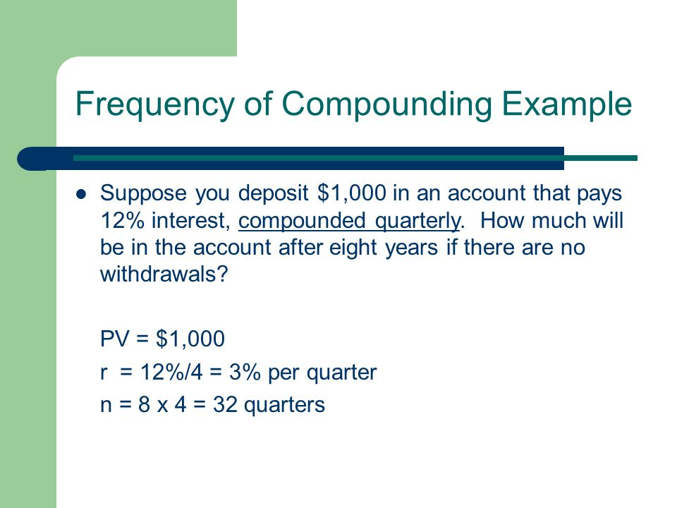 Frequency of Compounding Example Suppose you deposit $1,000 in an account that pays 12% interest, compounded quarterly.