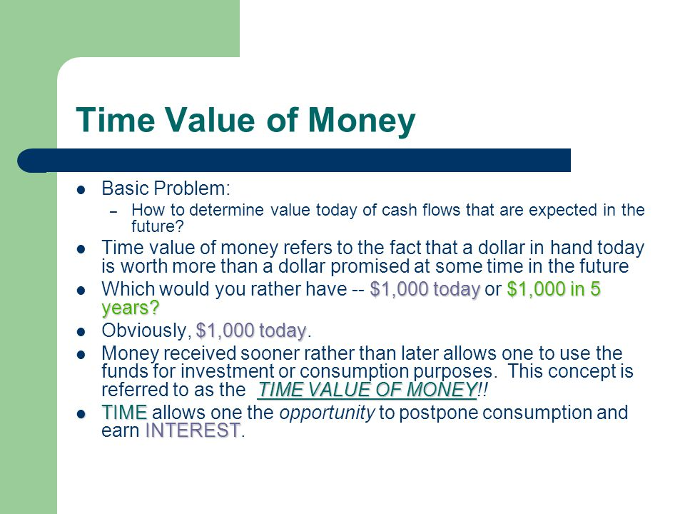Time Value of Money Basic Problem: – How to determine value today of cash flows that are expected in the future.