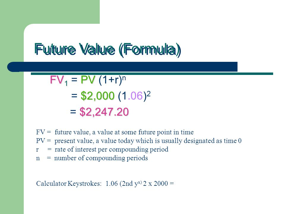 FV 1 PV FV 1 = PV (1+r) n $2,000 = $2,000 (1.06) 2 $2,247.20 = $2,247.20 Future Value (Formula) FV = future value, a value at some future point in time PV = present value, a value today which is usually designated as time 0 r = rate of interest per compounding period n = number of compounding periods Calculator Keystrokes: 1.06 (2nd y x) 2 x 2000 =