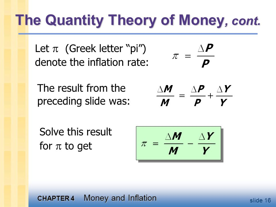 CHAPTER 4 Money and Inflation slide 16 The Quantity Theory of Money, cont. Let (Greek letter pi) denote the inflation rate: The result from the preced