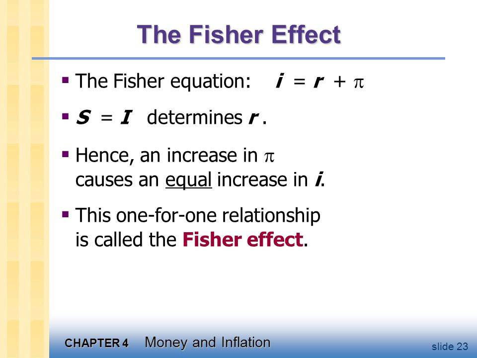 CHAPTER 4 Money and Inflation slide 23 The Fisher Effect The Fisher equation: i = r + S = I determines r. Hence, an increase in causes an equal increa