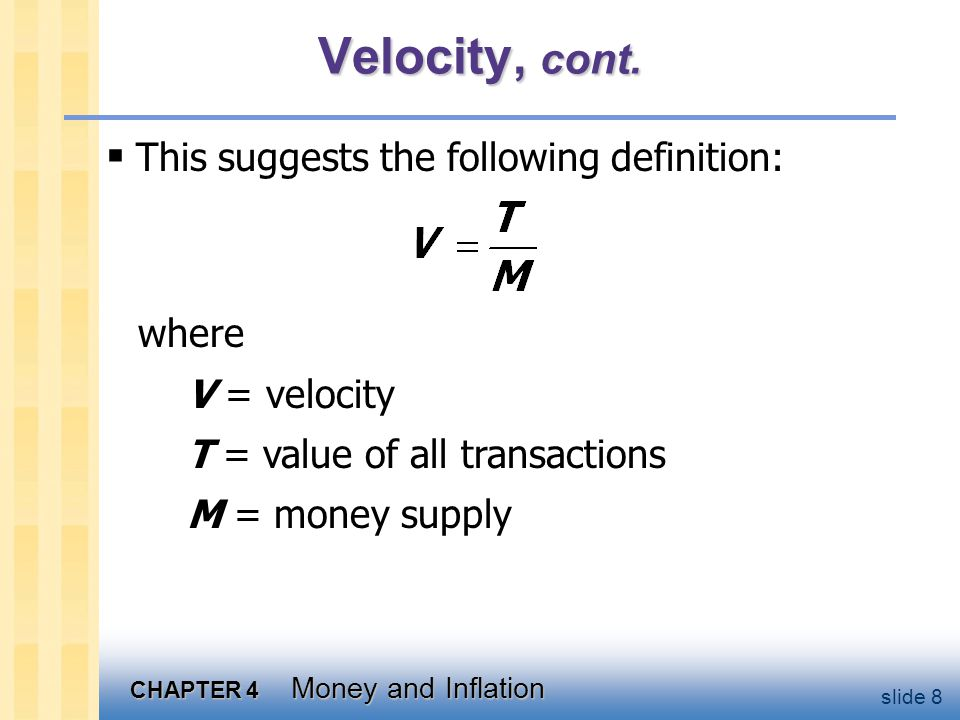CHAPTER 4 Money and Inflation slide 29 What determines what variablehow determined (in the long run) Mexogenous (the Central Bank) radjusts to make S = I Y P adjusts to make