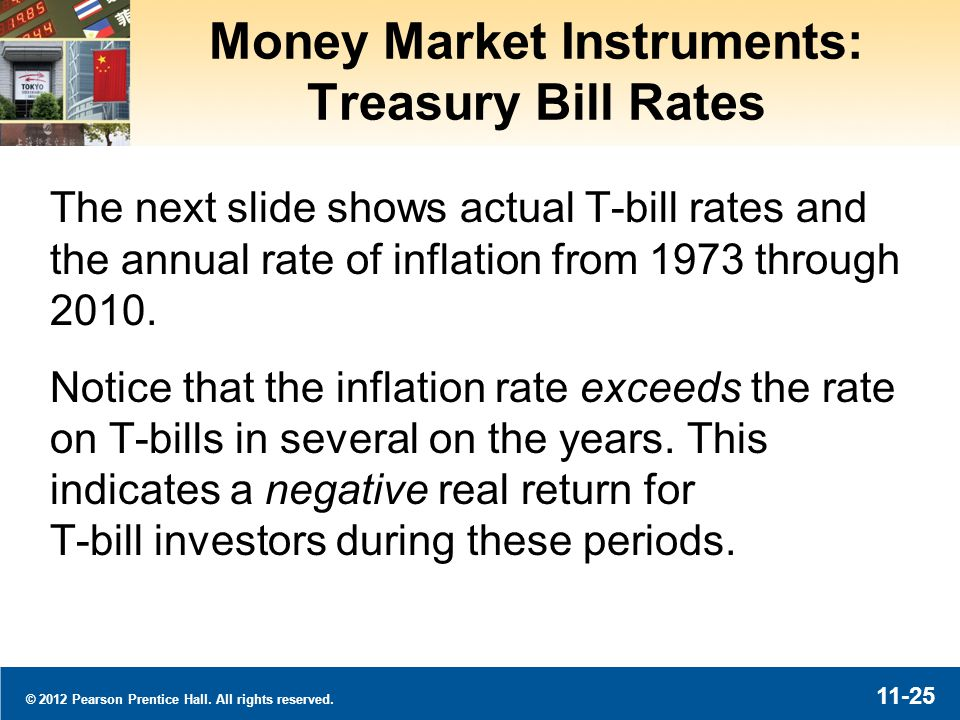 © 2012 Pearson Prentice Hall. All rights reserved. 11-25 Money Market Instruments: Treasury Bill Rates The next slide shows actual T-bill rates and th