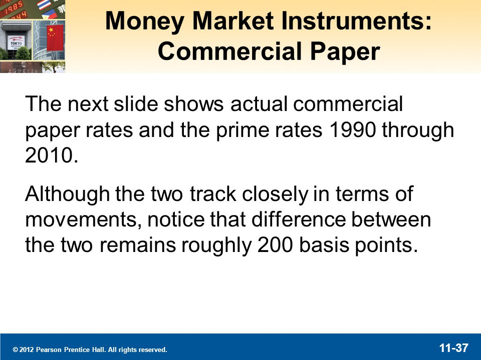 © 2012 Pearson Prentice Hall. All rights reserved. 11-37 Money Market Instruments: Commercial Paper The next slide shows actual commercial paper rates
