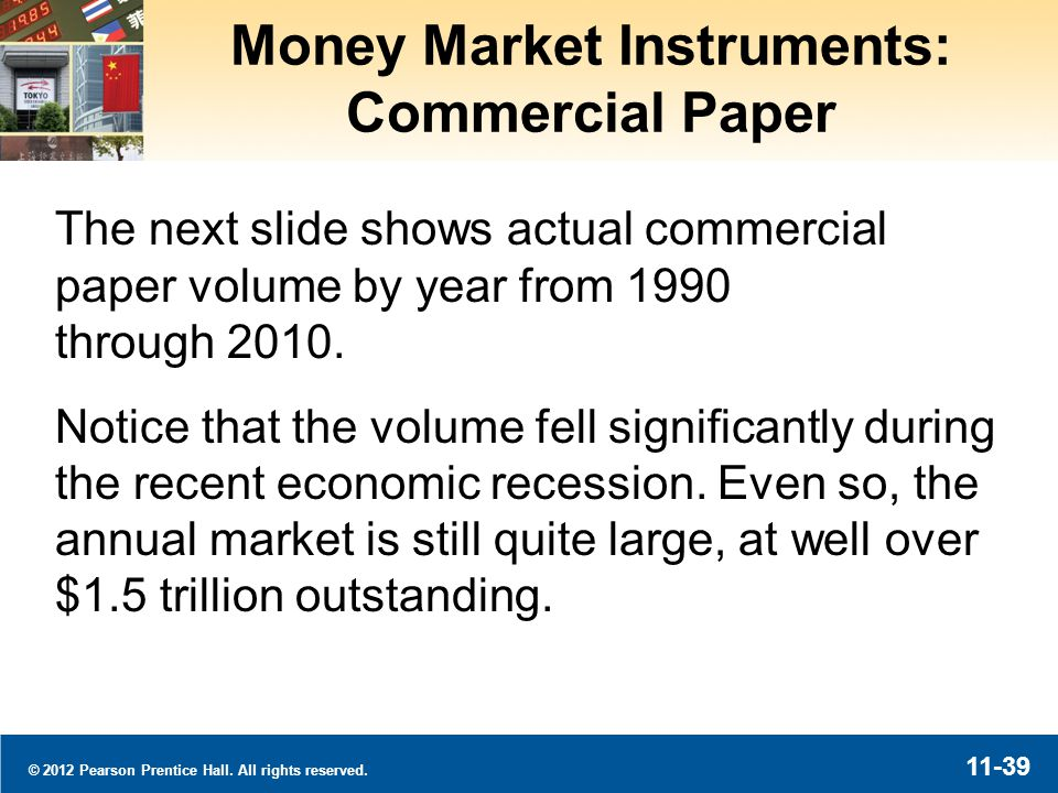 © 2012 Pearson Prentice Hall. All rights reserved. 11-39 Money Market Instruments: Commercial Paper The next slide shows actual commercial paper volum