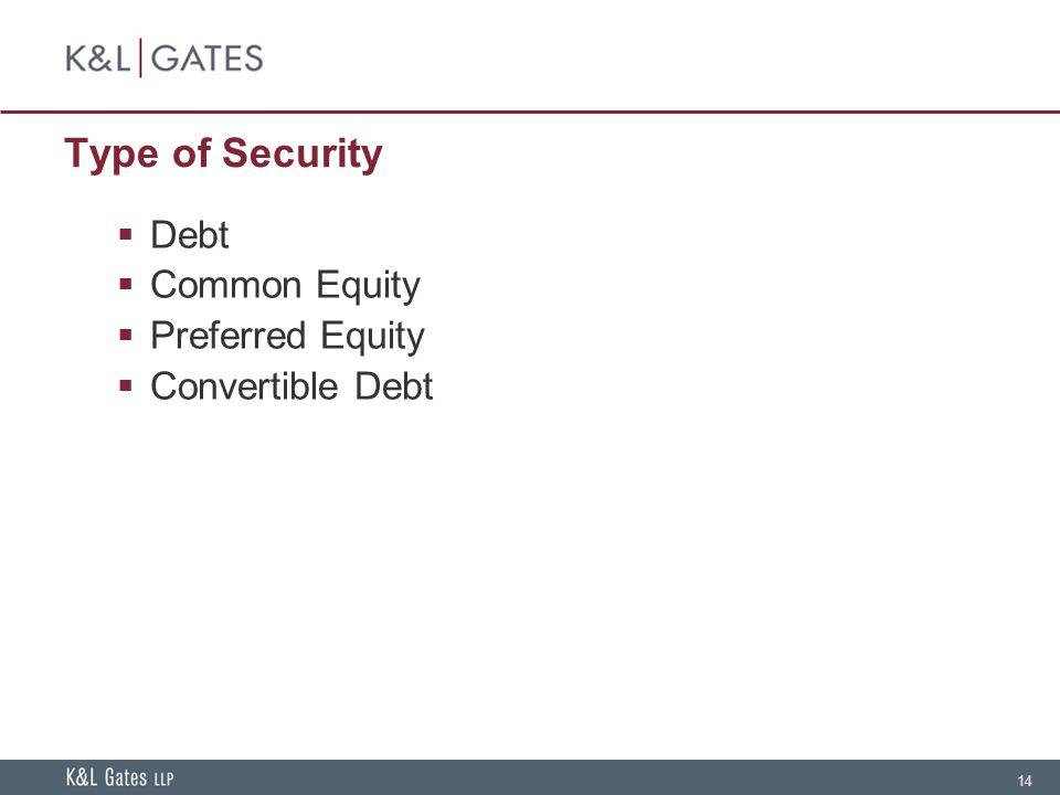 14 Type of Security Debt Common Equity Preferred Equity Convertible Debt