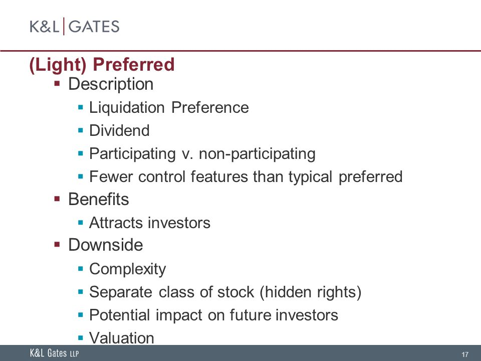 17 (Light) Preferred Description Liquidation Preference Dividend Participating v.