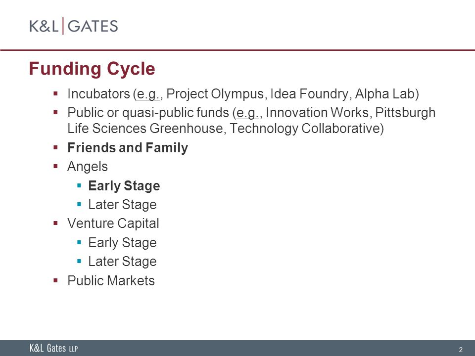 2 Funding Cycle Incubators (e.g., Project Olympus, Idea Foundry, Alpha Lab) Public or quasi-public funds (e.g., Innovation Works, Pittsburgh Life Sciences Greenhouse, Technology Collaborative) Friends and Family Angels Early Stage Later Stage Venture Capital Early Stage Later Stage Public Markets
