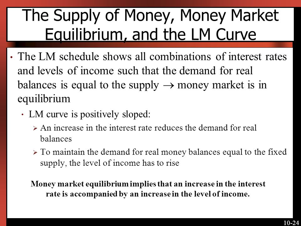 10-24 The Supply of Money, Money Market Equilibrium, and the LM Curve The LM schedule shows all combinations of interest rates and levels of income such that the demand for real balances is equal to the supply money market is in equilibrium LM curve is positively sloped: An increase in the interest rate reduces the demand for real balances To maintain the demand for real money balances equal to the fixed supply, the level of income has to rise Money market equilibrium implies that an increase in the interest rate is accompanied by an increase in the level of income.
