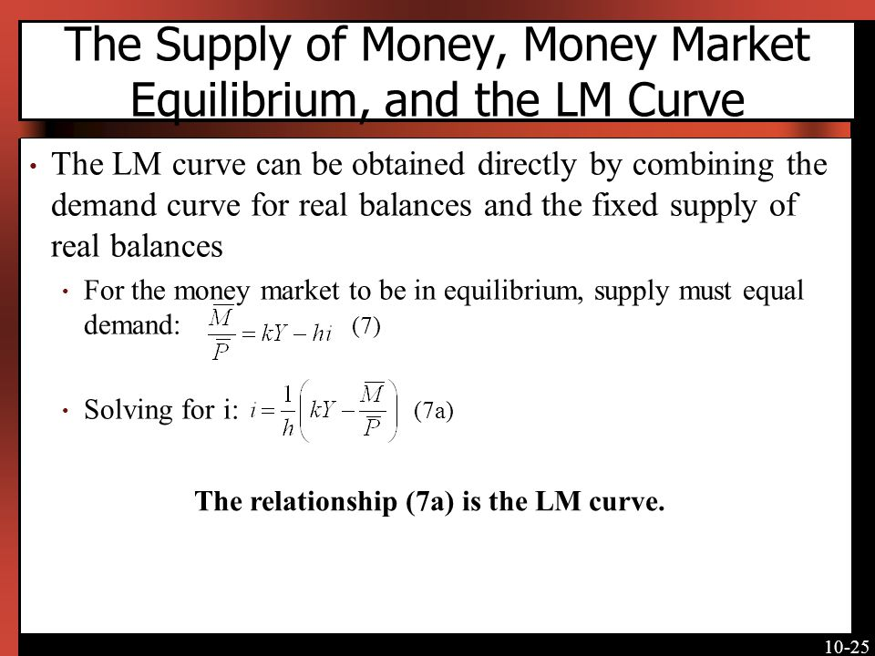 10-25 The Supply of Money, Money Market Equilibrium, and the LM Curve The LM curve can be obtained directly by combining the demand curve for real balances and the fixed supply of real balances For the money market to be in equilibrium, supply must equal demand: (7) Solving for i: (7a) The relationship (7a) is the LM curve.