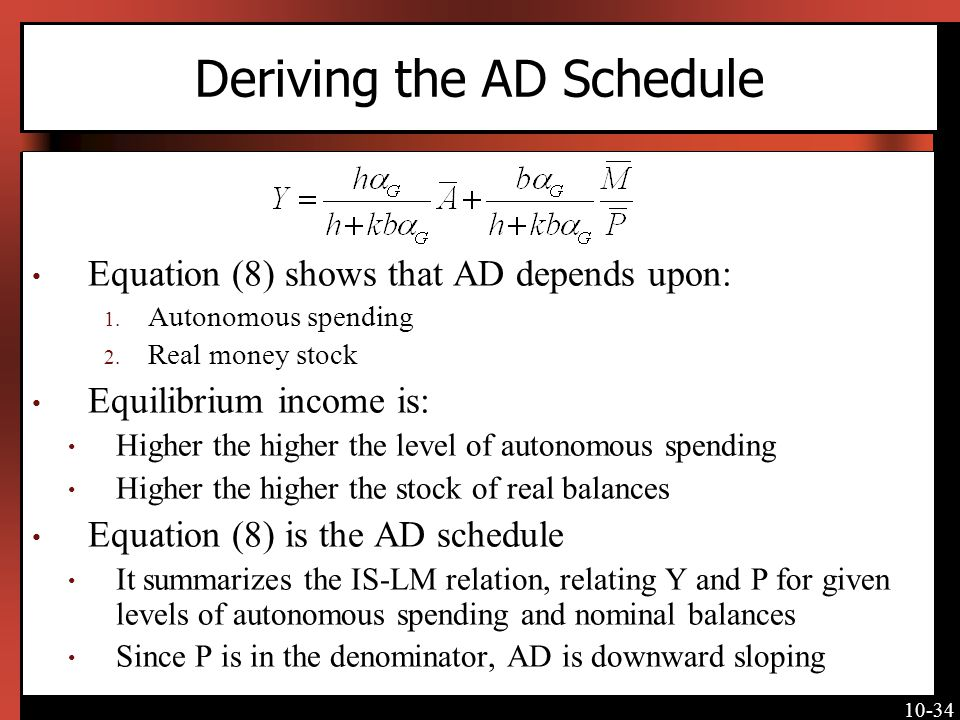 10-34 Deriving the AD Schedule Equation (8) shows that AD depends upon: 1.