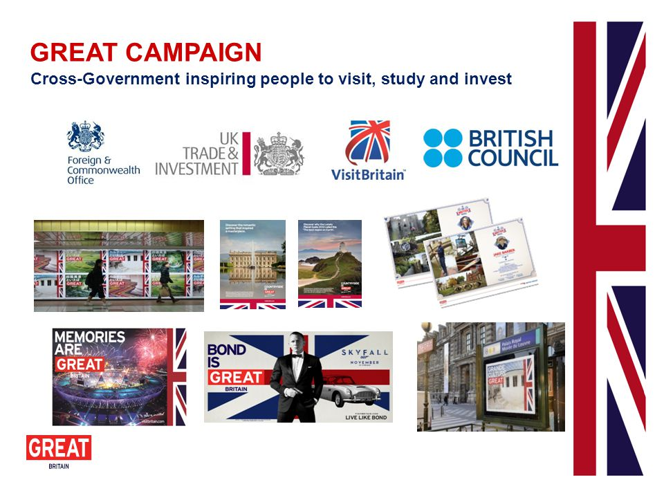 GREAT CAMPAIGN Cross-Government inspiring people to visit, study and invest