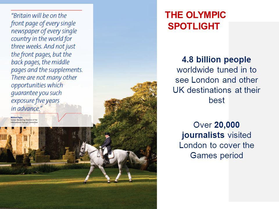 THE OLYMPIC SPOTLIGHT 4.8 billion people worldwide tuned in to see London and other UK destinations at their best Over 20,000 journalists visited Lond