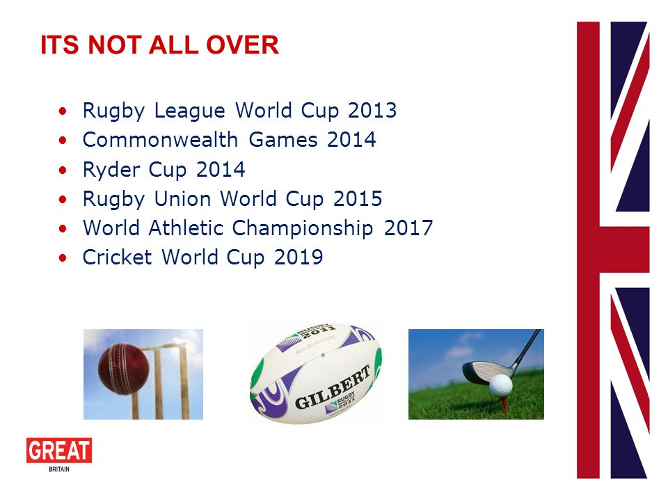 ITS NOT ALL OVER Rugby League World Cup 2013 Commonwealth Games 2014 Ryder Cup 2014 Rugby Union World Cup 2015 World Athletic Championship 2017 Cricke