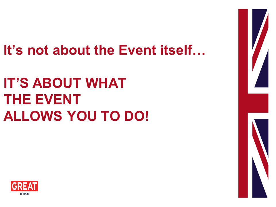 Its not about the Event itself… ITS ABOUT WHAT THE EVENT ALLOWS YOU TO DO!
