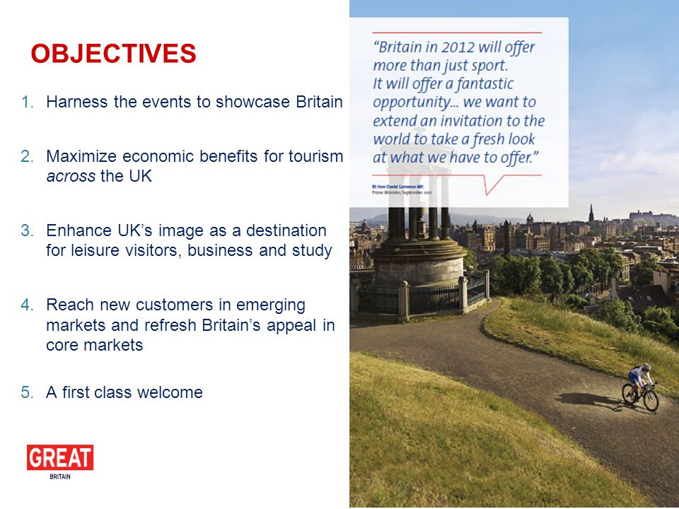 1.Harness the events to showcase Britain 2.Maximize economic benefits for tourism across the UK 3.Enhance UKs image as a destination for leisure visitors, business and study 4.Reach new customers in emerging markets and refresh Britains appeal in core markets 5.A first class welcome OBJECTIVES