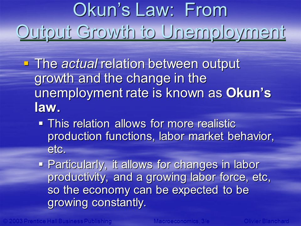 © 2003 Prentice Hall Business PublishingMacroeconomics, 3/e Olivier Blanchard Okuns Law: From Output Growth to Unemployment The actual relation betwee