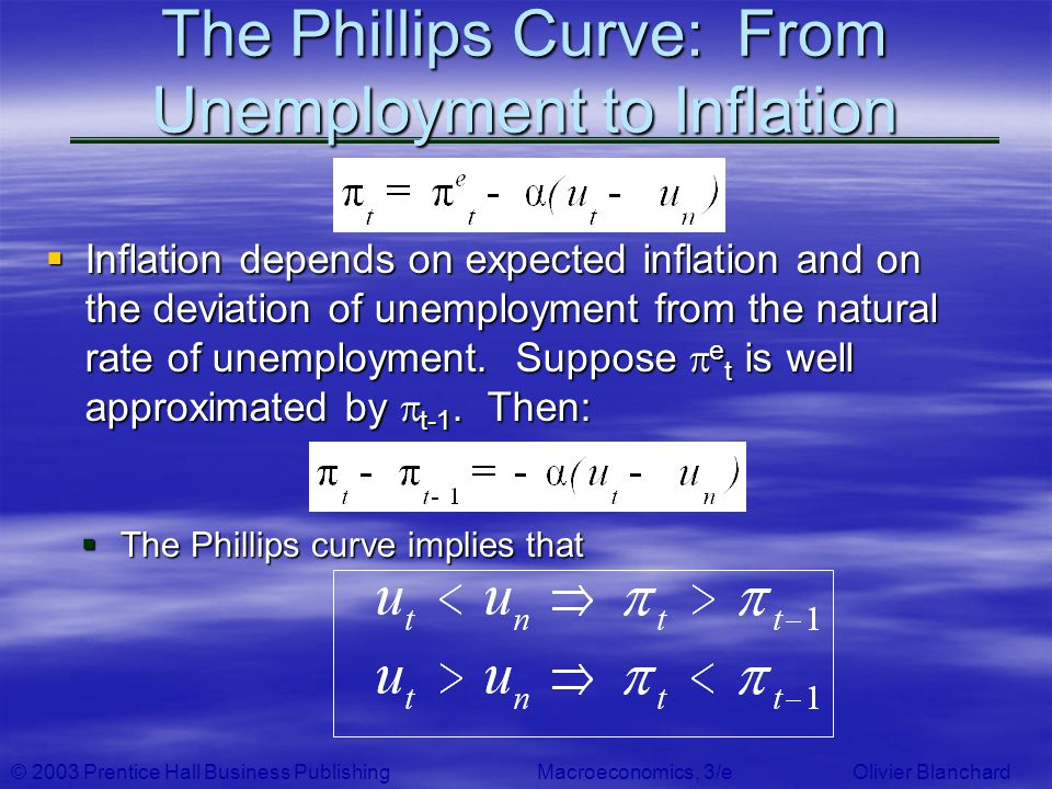 © 2003 Prentice Hall Business PublishingMacroeconomics, 3/e Olivier Blanchard The Phillips Curve: From Unemployment to Inflation Inflation depends on