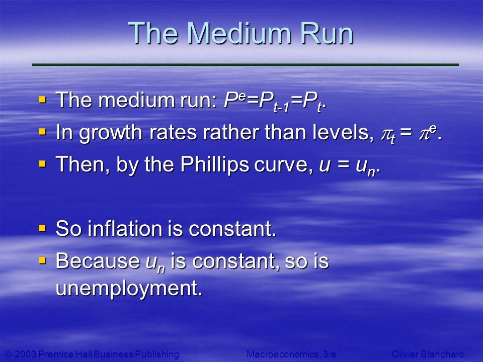 © 2003 Prentice Hall Business PublishingMacroeconomics, 3/e Olivier Blanchard The Medium Run The medium run: P e =P t-1 =P t. The medium run: P e =P t
