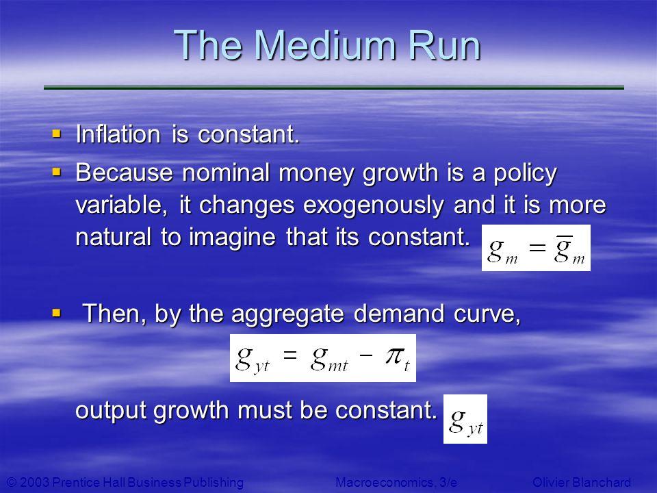© 2003 Prentice Hall Business PublishingMacroeconomics, 3/e Olivier Blanchard The Medium Run Inflation is constant. Inflation is constant. Because nom