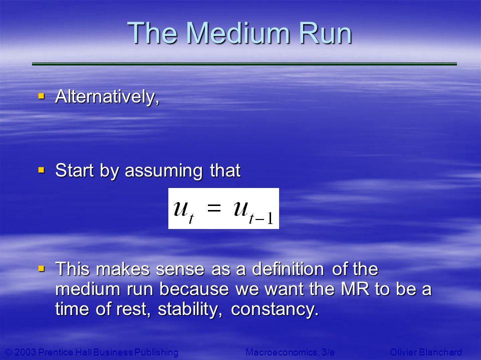 © 2003 Prentice Hall Business PublishingMacroeconomics, 3/e Olivier Blanchard The Medium Run Alternatively, Alternatively, Start by assuming that Star