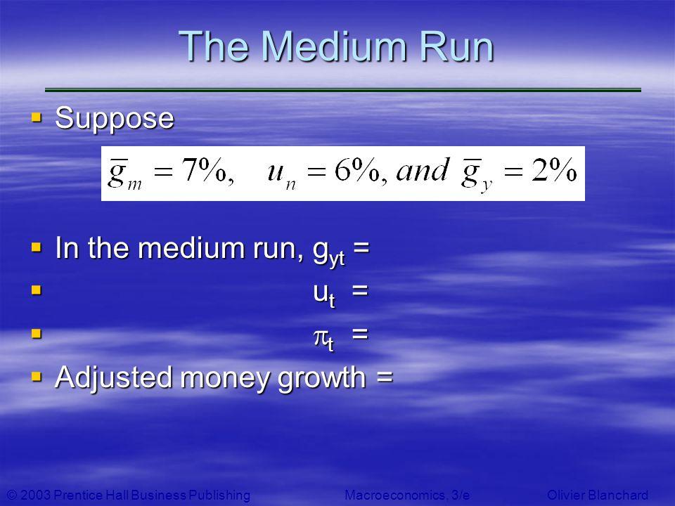 © 2003 Prentice Hall Business PublishingMacroeconomics, 3/e Olivier Blanchard The Medium Run Suppose Suppose In the medium run, g yt = In the medium r