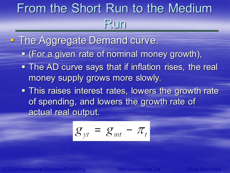 © 2003 Prentice Hall Business PublishingMacroeconomics, 3/e Olivier Blanchard From the Short Run to the Medium Run The Aggregate Demand curve. The Agg