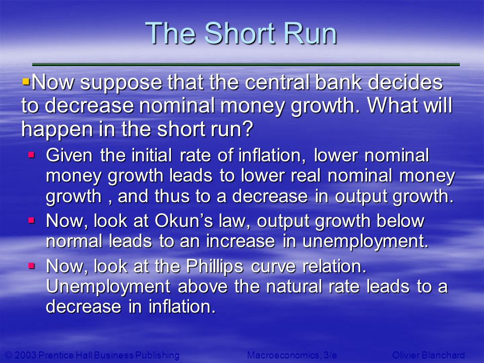 © 2003 Prentice Hall Business PublishingMacroeconomics, 3/e Olivier Blanchard The Short Run Now suppose that the central bank decides to decrease nomi