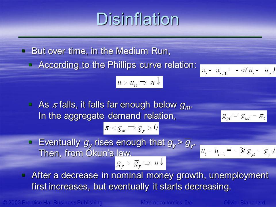 © 2003 Prentice Hall Business PublishingMacroeconomics, 3/e Olivier BlanchardDisinflation But over time, in the Medium Run, But over time, in the Medi