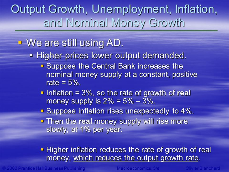 © 2003 Prentice Hall Business PublishingMacroeconomics, 3/e Olivier Blanchard Output Growth, Unemployment, Inflation, and Nominal Money Growth We are