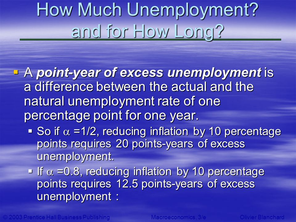© 2003 Prentice Hall Business PublishingMacroeconomics, 3/e Olivier Blanchard How Much Unemployment? and for How Long? A point-year of excess unemploy