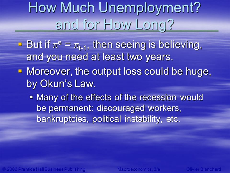 © 2003 Prentice Hall Business PublishingMacroeconomics, 3/e Olivier Blanchard How Much Unemployment? and for How Long? But if e = t-1, then seeing is