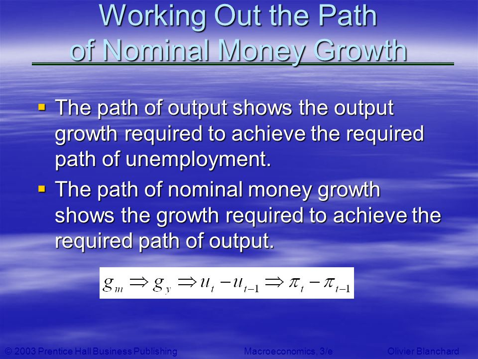 © 2003 Prentice Hall Business PublishingMacroeconomics, 3/e Olivier Blanchard Working Out the Path of Nominal Money Growth The path of output shows th