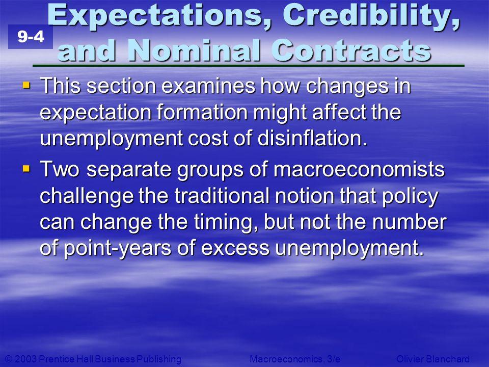 © 2003 Prentice Hall Business PublishingMacroeconomics, 3/e Olivier Blanchard Expectations, Credibility, and Nominal Contracts Expectations, Credibili