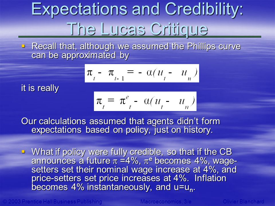 © 2003 Prentice Hall Business PublishingMacroeconomics, 3/e Olivier Blanchard Expectations and Credibility: The Lucas Critique Recall that, although w