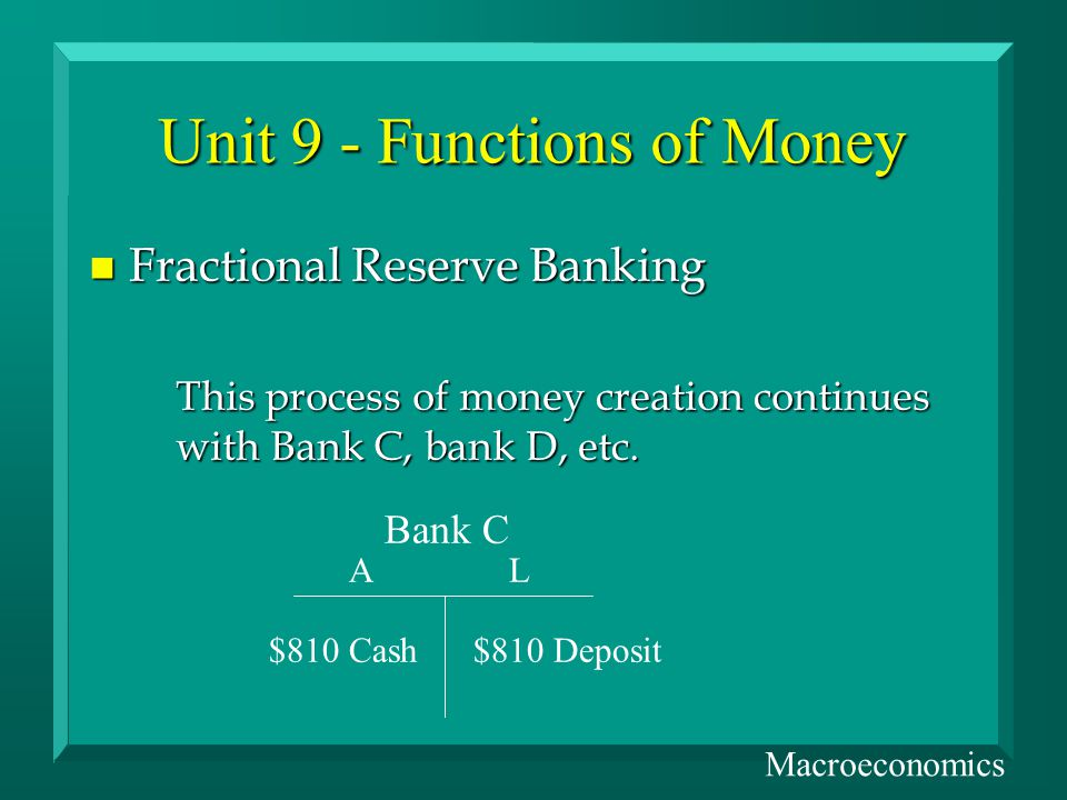 Unit 9 - Functions of Money n Fractional Reserve Banking This process of money creation continues with Bank C, bank D, etc.