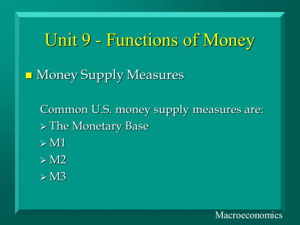 Unit 9 - Functions of Money n Money Supply Measures Common U.S.