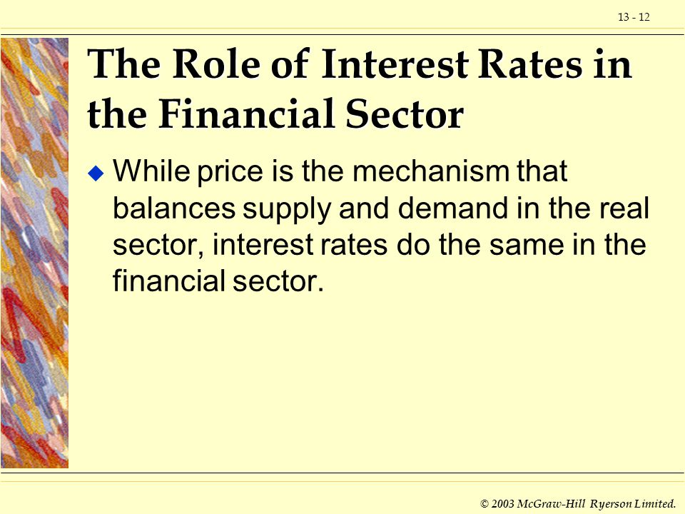 13 - 12 © 2003 McGraw-Hill Ryerson Limited. The Role of Interest Rates in the Financial Sector u While price is the mechanism that balances supply and