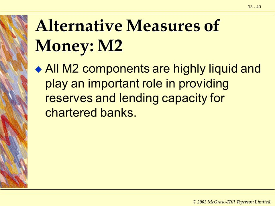 13 - 40 © 2003 McGraw-Hill Ryerson Limited. Alternative Measures of Money: M2 u All M2 components are highly liquid and play an important role in prov