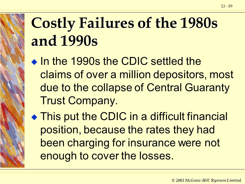 13 - 89 © 2003 McGraw-Hill Ryerson Limited. Costly Failures of the 1980s and 1990s u In the 1990s the CDIC settled the claims of over a million deposi
