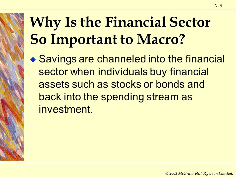 13 - 10 © 2003 McGraw-Hill Ryerson Limited.Why Is the Financial Sector So Important to Macro.
